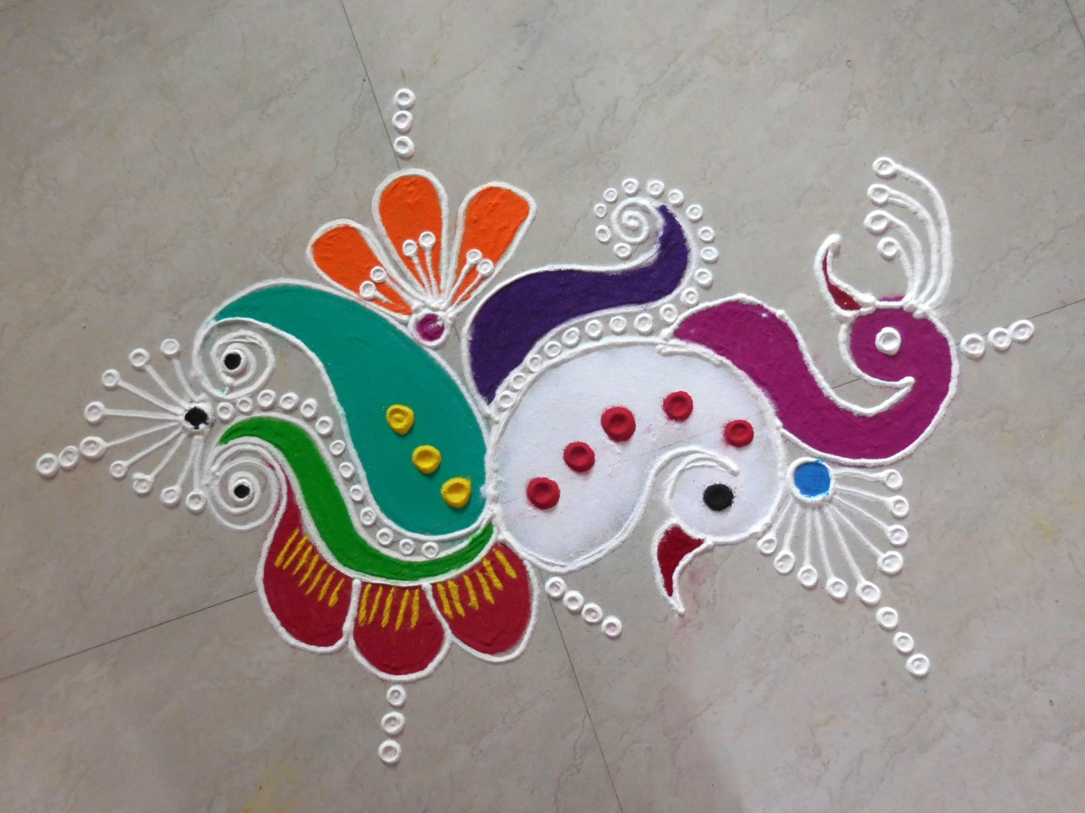 Peacock Rangoli Design for Diwali with Modern Theme