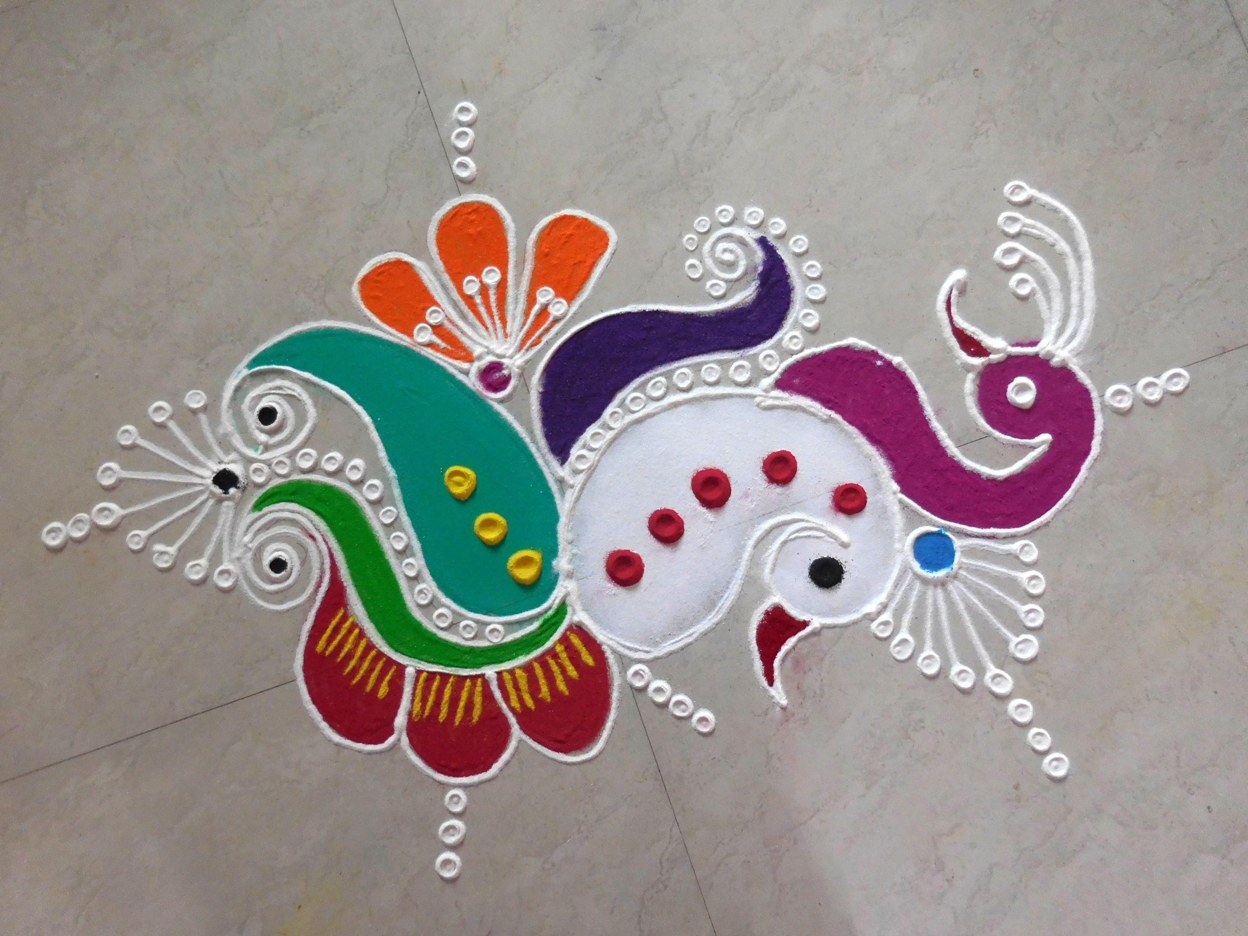 Peacock Rangoli Design for Diwali with Modern Theme