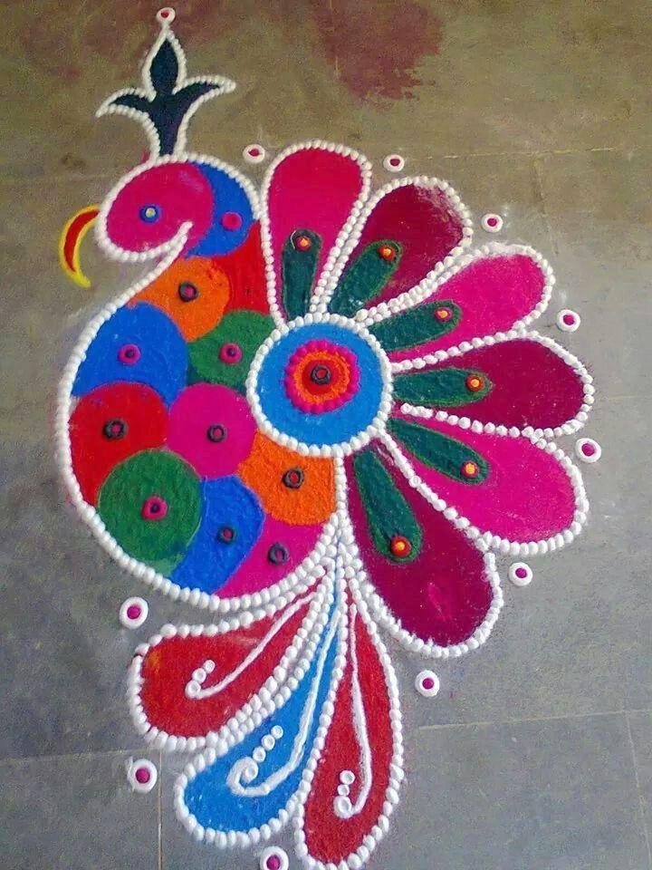 Peacock Rangoli Design for Diwali in Full HD