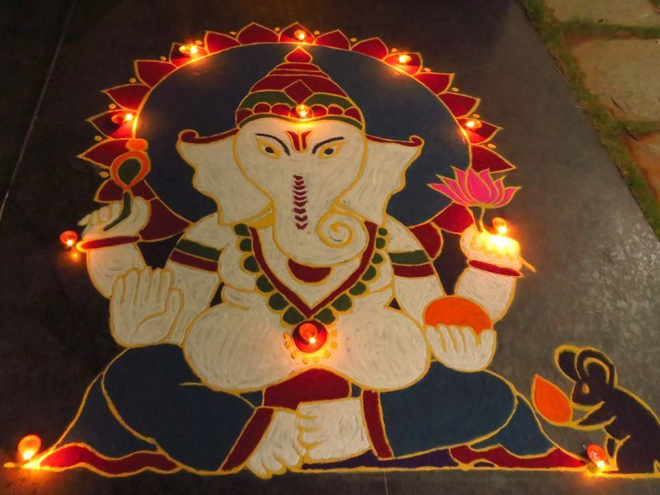 Ganesh Rangoli Design for Diwali