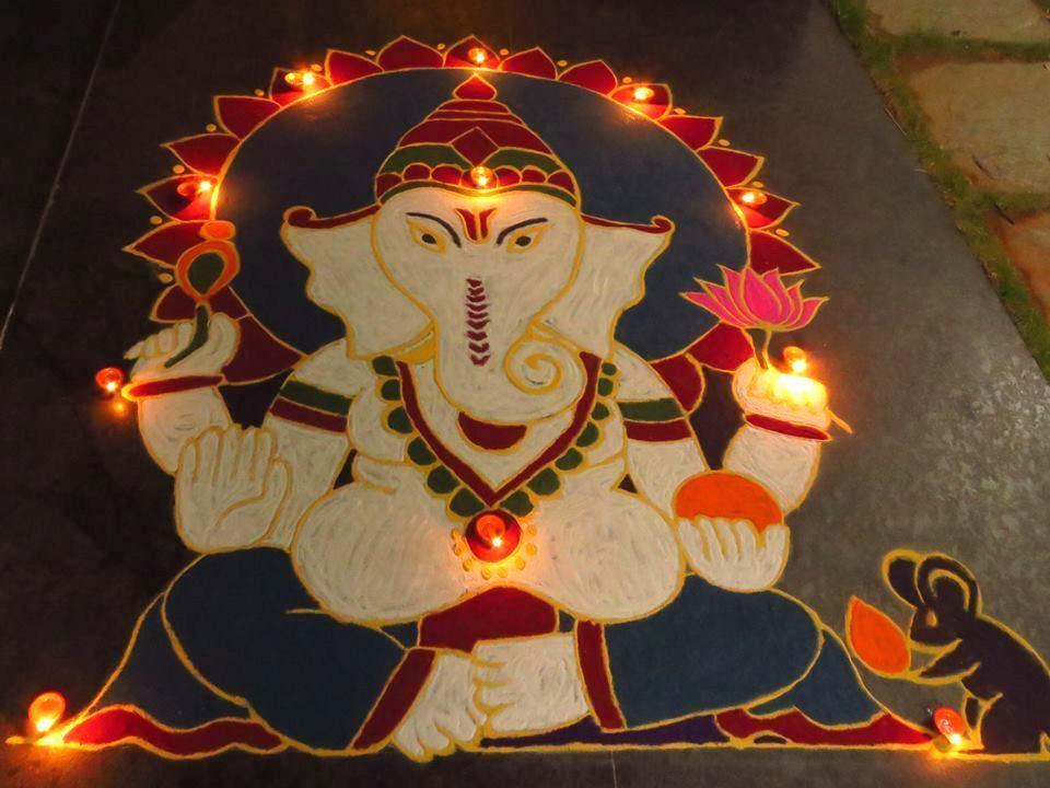 award winning rangoli designs for diwali with diya
