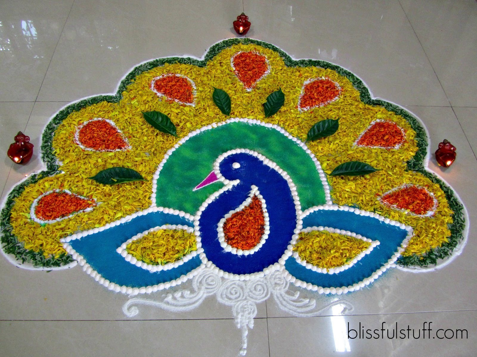 Peacock Rangoli Design for Deepavali