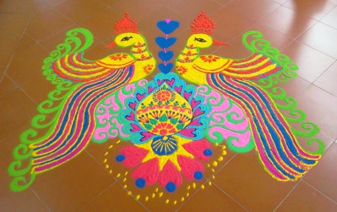 Peacock Rangoli Design Image