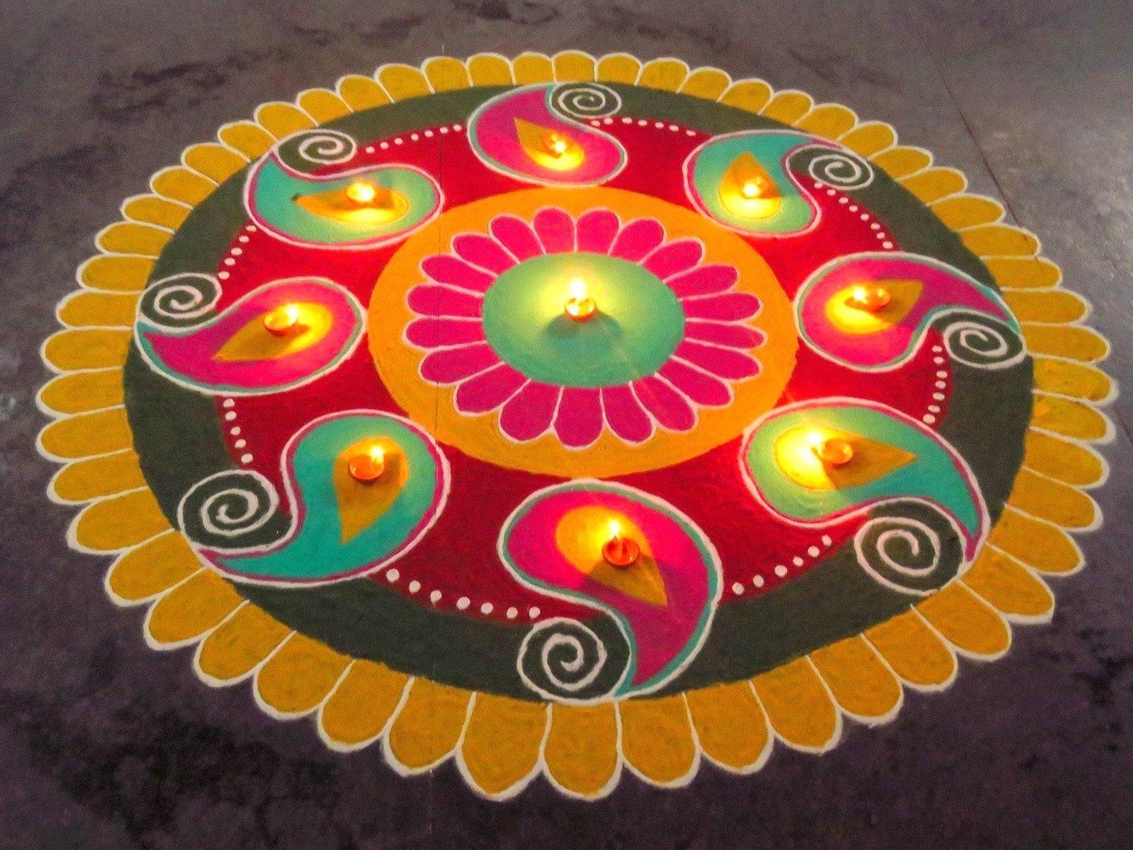 Colorful agal rangoli kolangal for karthigai deepam