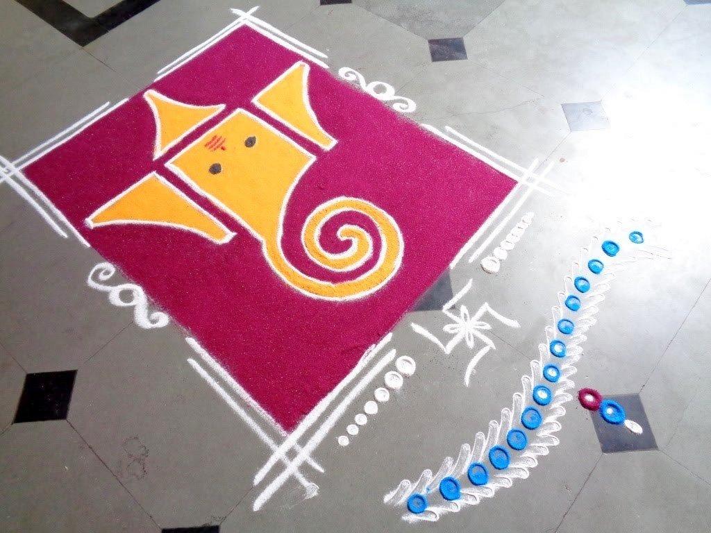 Ganpati Rangoli Design for Diwali