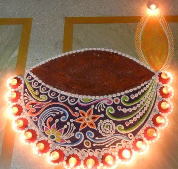 Diya Rangoli Designs For Diwali