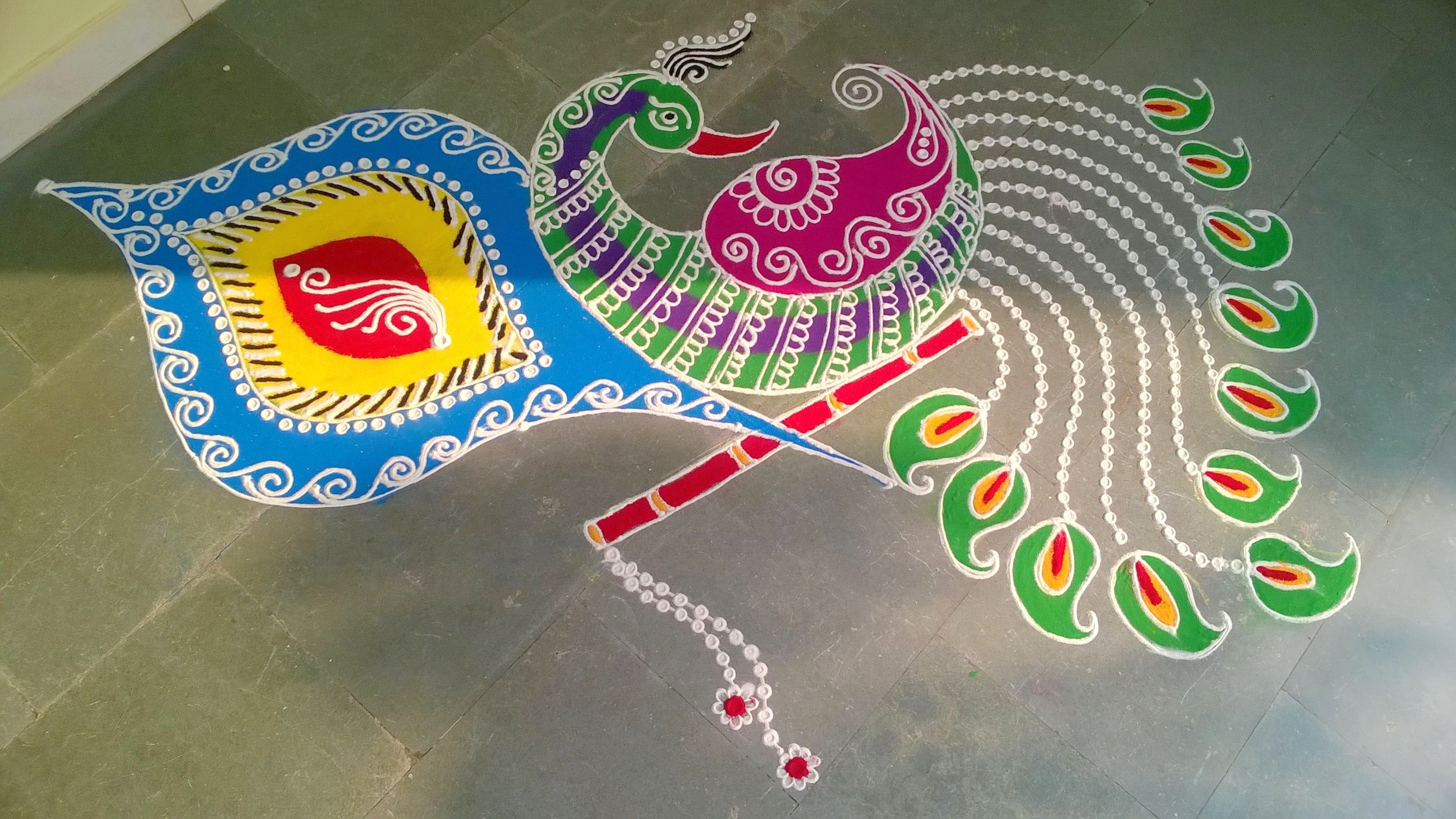 Beautiful Peacock Rangoli Pattern for Deepavali