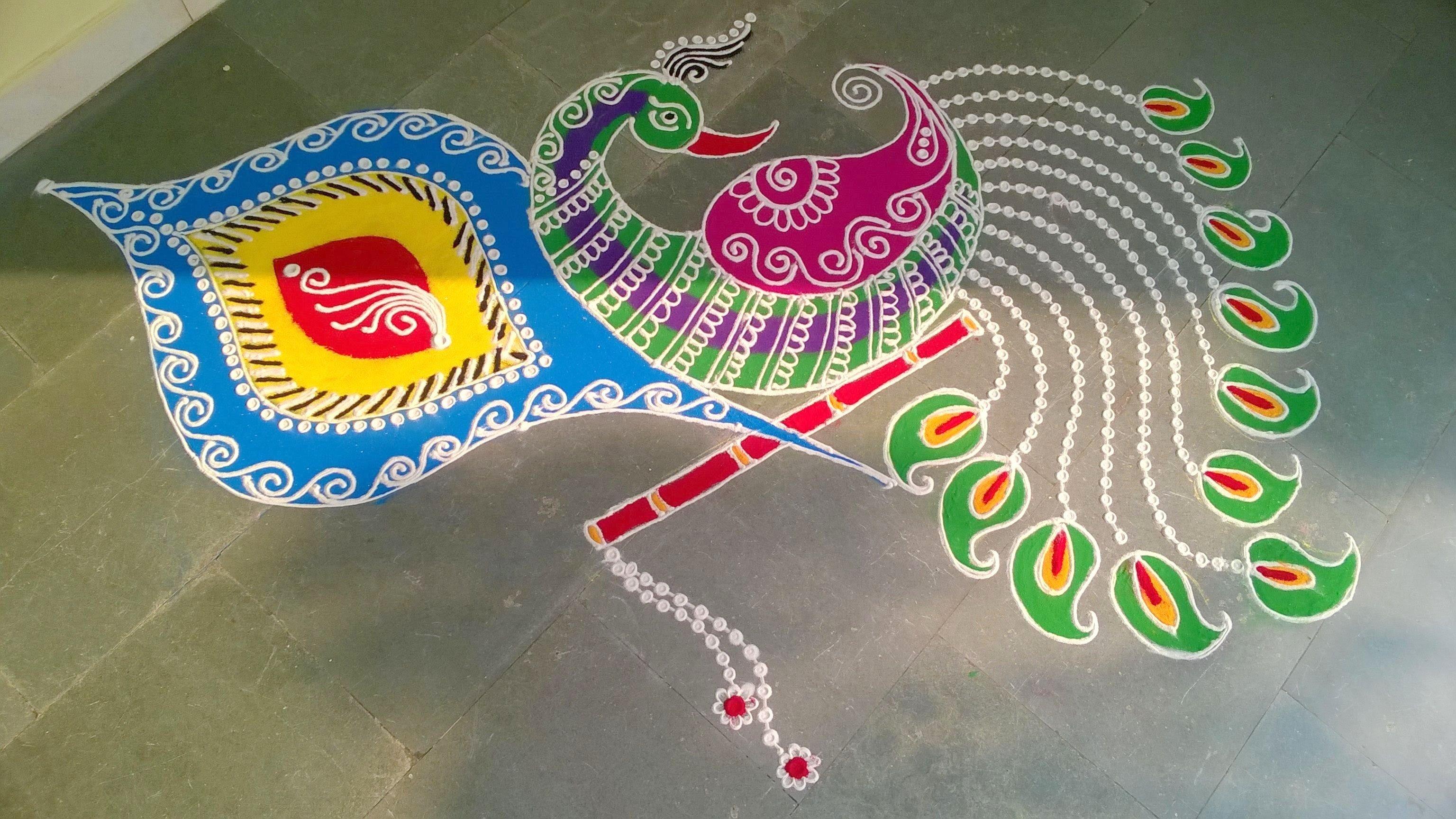 Beautiful Peacock Rangoli Pattern for Deepavali