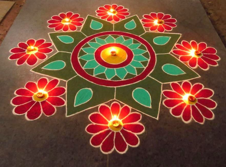 Award Winning Rangoli Designs for Diwali with Diya ...