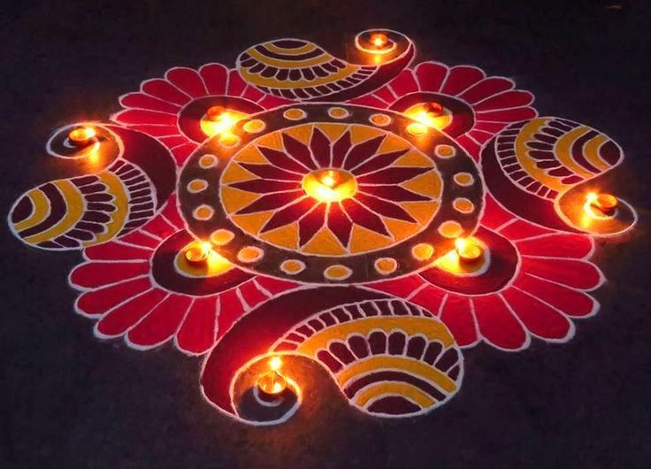 Rangoli Designs For Diwali with Diyas